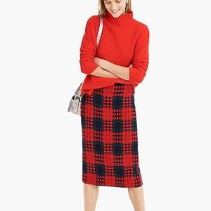 J Crew Pencil Skirt in Holiday Lattice Print NEW